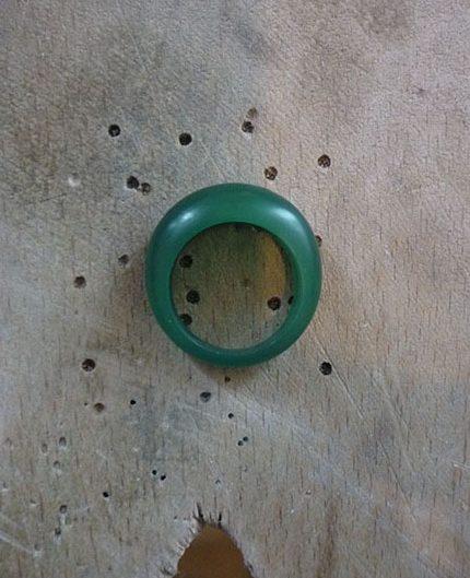 Maquette de bague boule en cire à sculpter verte - Atelier Constance du Bellay